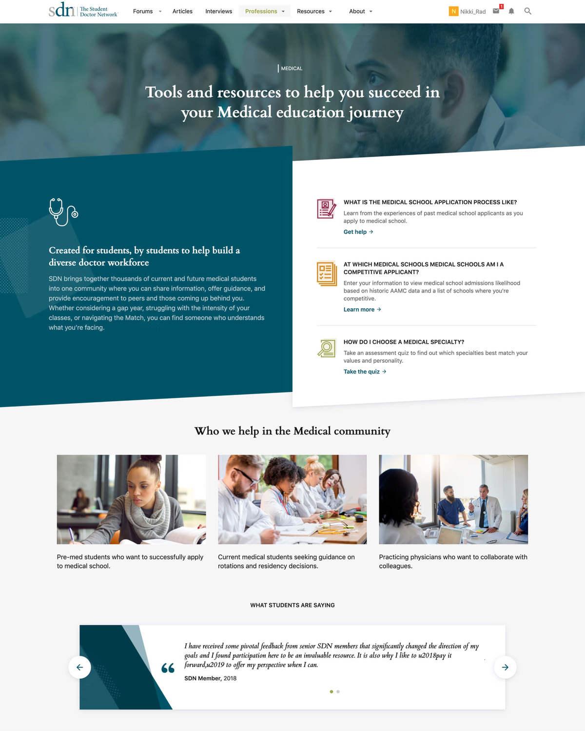 Student Doctor Network Website and Community | Portfolio